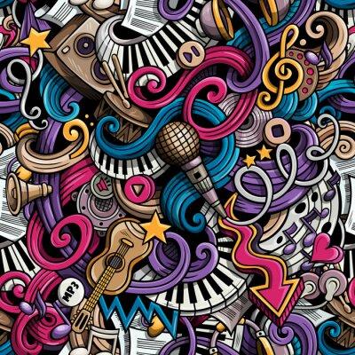 Tapeta Cartoon hand drawn doodles Music seamless pattern