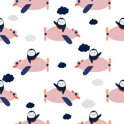 Tapeta Cartoon  penguin flies on airplane, animal pilot, childish vector illustration, seamless pattern. Design for fabric, wrapping, textile, wallpaper, apparel. Vector illustration..