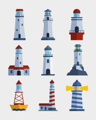 Tapeta Cartoon płaska latarnia morska searchlight wieża dla morskich nawigacji wskazówek wektorowych ilustracji wektorowych.