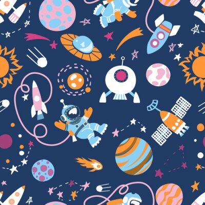 Tapeta Cartoon sci-fi space background. Vector Illustration.Set of color images of an astronaut in space, UFOs, spaceships, stars. planets, comets, meteorites