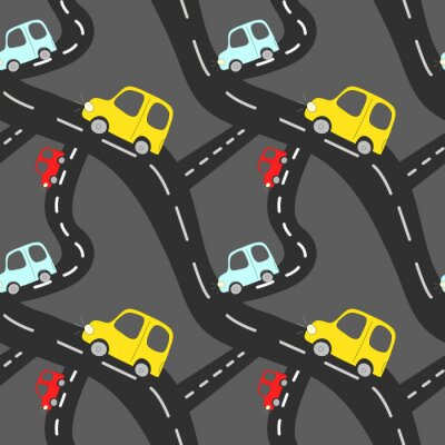 Tapeta Cartoon seamless vector pattern with cute drawing car element on road on dark grey background.