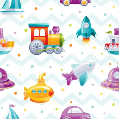 Tapeta Cartoon toy transport seamless pattern. Cute 3d boy boat, car, airplane, submarine, sail ship, train, rocket, wallpaper design. Fun vector illustration isolated on zig zag polka dot drawn background