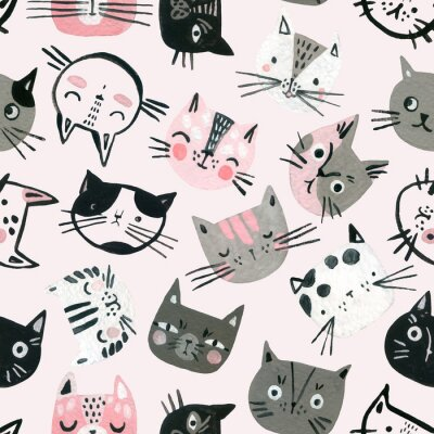 Tapeta Cartoon watercolor cats seamless pattern in pastel colors. Cute kitten faces background for kids design.