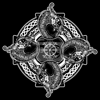 Tapeta Celtic Cross Tatuaż Sztuki I T Shirt Design Helm Of Awe Aegishjalmur