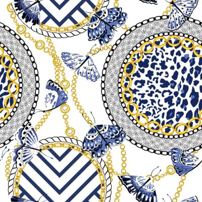 Tapeta Chain seamless pattern with leopard skin elements and butterflies. Animal print. Baroque trend. Vector illustration
