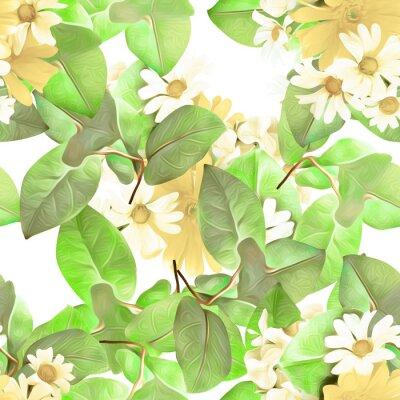 Tapeta Chamomile flowers seamless pattern.