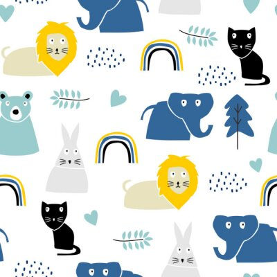 Tapeta Childish pattern with safari animal, lion, rabbit, cat, and elephant. Cute decoration scandinavian style with colorful pastel colors. Good for kids fashion textile print.