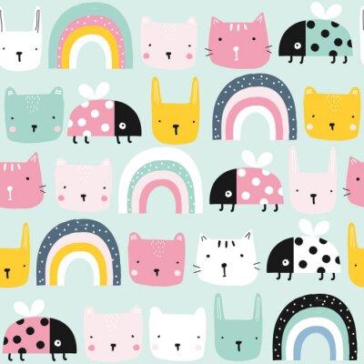 Tapeta Childish seamless pattern with animals and rainbow. Kids pastel textile print. Vector hand drawn illustration.
