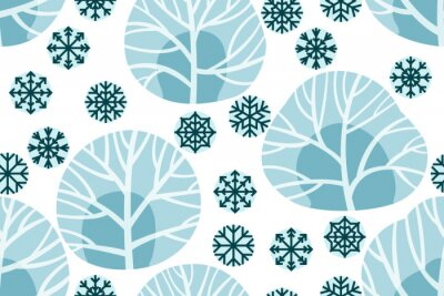 Tapeta Christmas and New Year seamless vector pattern with trees and snowflakes