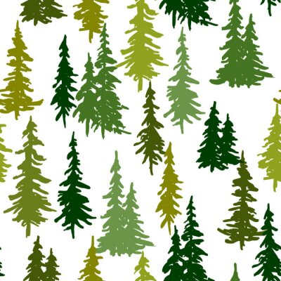 Tapeta Christmas and New Year vector seamless pattern with green pine trees