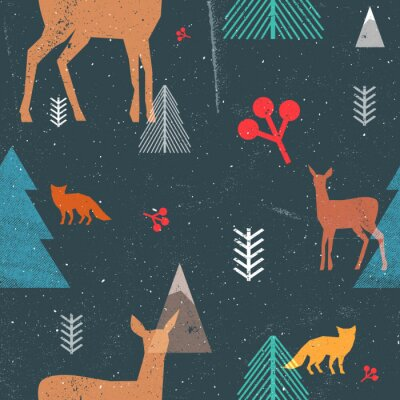 Tapeta Christmas bez szwu deseń z lasów zwierząt i drzew w stylu graficznym. Ilustracji wektorowych z grunge tekstury i abstrakcyjna jasne formularze. Ciemnoniebieskie i brązowe kolory.