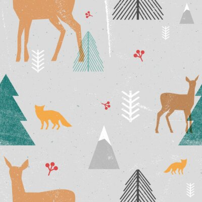 Tapeta Christmas bez szwu deseń z lasów zwierząt i drzew w stylu graficznym. Ilustracji wektorowych z grunge tekstury i abstrakcyjna jasne formularze. Szare, brązowe, niebieskie.