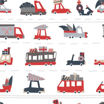 Tapeta Christmas cars pattern. Childish vector seamless pattern of holiday roads in Scandinavian style. Moboes, buses, trucks with gifts