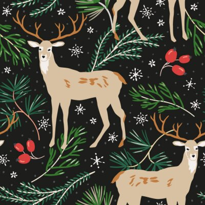 Tapeta Christmas seamless pattern, black background. Forest deer animals, green pine twigs, berries, snow. Vector illustration. Nature design. Season greeting digital paper. Winter Xmas holidays