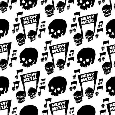 Tapeta Ciężkiego muzyki rockowej odznaki rocznika wektorowa etykietka z punkowej czaszki bezszwowego deseniowego tła ciężkiego rozsądnego majcheru emblemata ilustracją