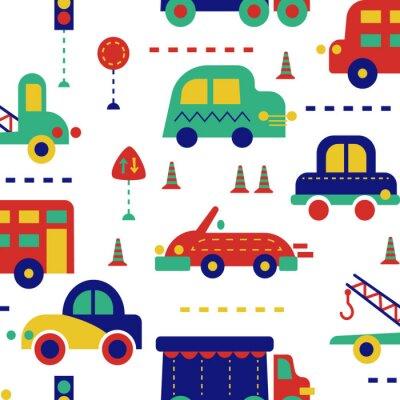 Tapeta City traffic seamless pattern for kids