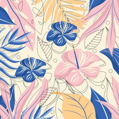 Tapeta Colorful tropical background with flowers and leaves. Vector design. Flat jungle print.
