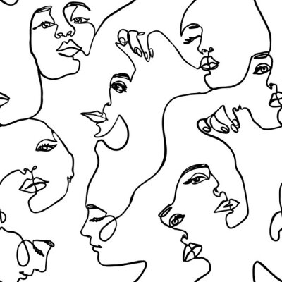 Tapeta Continuous line face women seamless pattern - Vector Endless Background Fashion Female Portrait one line