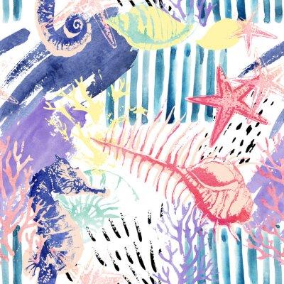 Tapeta Creative streszczenie akwarela morskich bez szwu deseń.