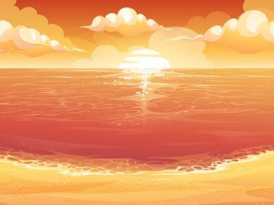 Tapeta Crimson słońce, wschód lub zachód słońca na morzu