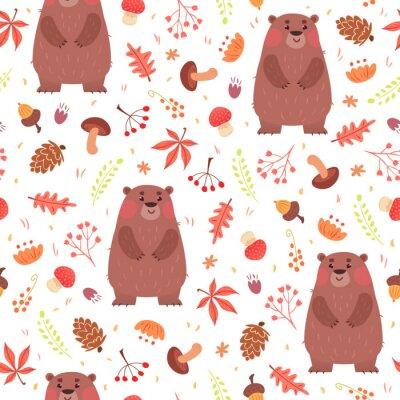 Tapeta Cute bez szwu deseń z niedźwiedzie w lesie