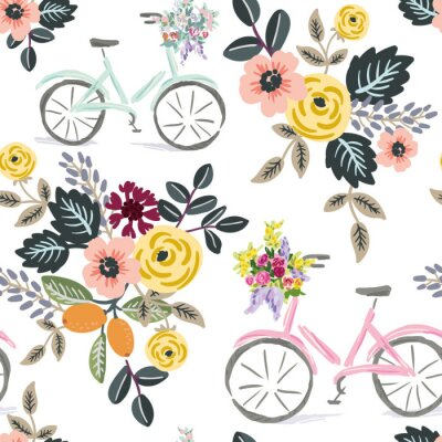 Tapeta Cute bikes and floral bouquets, white background. Vector seamless pattern. Summer flowers. Nature print. Digital illustration with bicycles