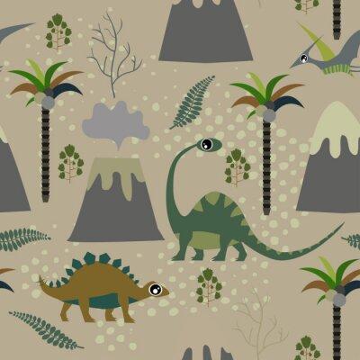 Tapeta Cute dla dzieci wzór dla dziewcząt i chłopców. Kolorowe dinozaury na tle grunge abstrakcyjne utworzyć zabawne rysunek kreskówek. Tło jest wykonane w kolorach neonowych. Tło miejskie na tekstylia i tka