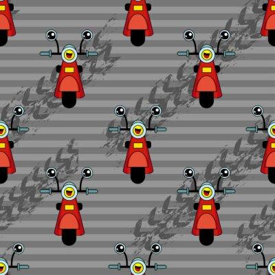 Tapeta Cute dla dzieci wzór dla dziewcząt i chłopców. Kolorowe motocykl, skuter na streszczenie jasnym tle utworzy? Zabawne rysunek cartoon.tem jest w colors.Urban t? O dla tkanin i tkanin