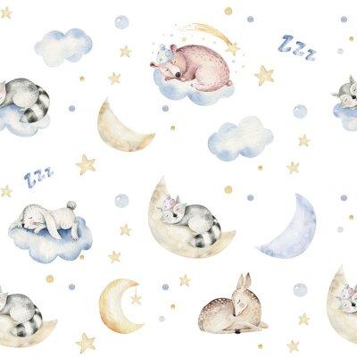 Tapeta Cute dreaming cartoon animal hand drawn watercolor seamless pattern. Sleeping charecher kids nursery wear fashion design, baby shower invitation