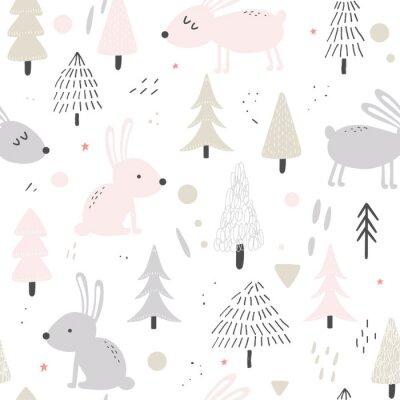 Tapeta Cute hares nature seamless background