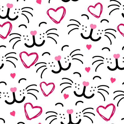 Tapeta Cute kot twarz bezszwowych wzór VECTOR