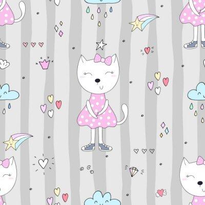 Tapeta Cute kotów kolorowe tło bez szwu deseń