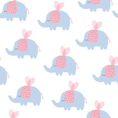Tapeta Cute latające małe słonie z różowym skrzydłami bezszwowych wzór. Ilustracji wektorowych r? Cznie rysowane.