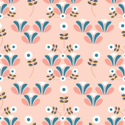 Tapeta Cute pink flowers in a retro pattern design