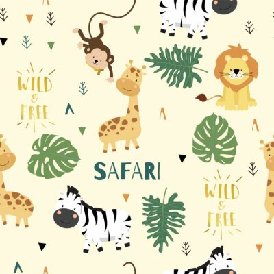 Tapeta Cute safari background with giraffe,zebra,lion,monkey,leaves.Vector illustration seamless pattern for background,wallpaper,frabic.include wording wild and free.Editable element