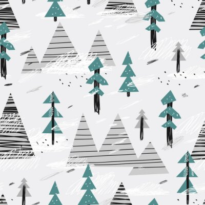 Tapeta Cute seamless pattern with mountains and trees. Creative scandinavian woodland background. Vector illustration. Childish illustration.
