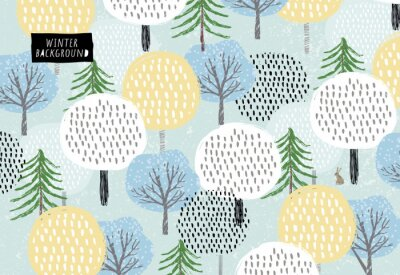 Tapeta Cute vector pattern of winter trees, spruce and snow. Background for the holidays of the new year and Christmas. Drawn by hand forest
