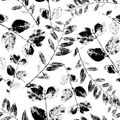 Tapeta Czarny i biały abstrakt opuszcza sylwetka bezszwowego wzór