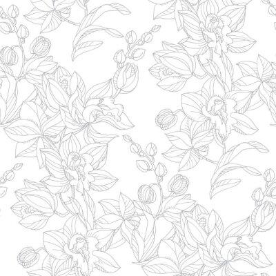 Tapeta Czarny i biały storczykowy kwiecisty bezszwowy wzór