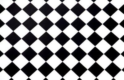 Tapeta Czarny i biały w kratkę podłogowe płytki płynnie jako wzór, odgórny widok