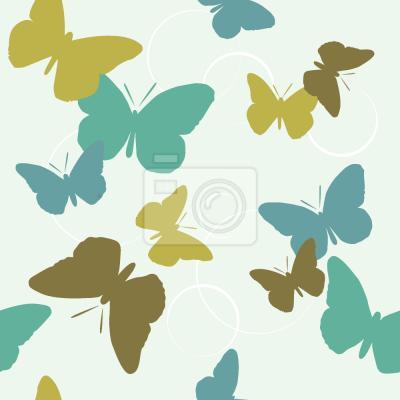 Tapeta Czas Motyle Zielony