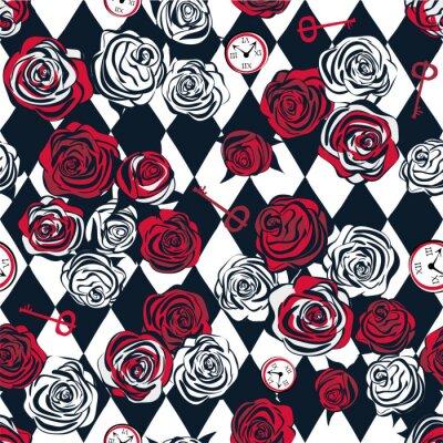 Tapeta Czerwone i białe róże, klucz i zegar na szachy tle. Bez szwu deseń. Alicja w krainie czarów, tapeta. Ilustracji wektorowych