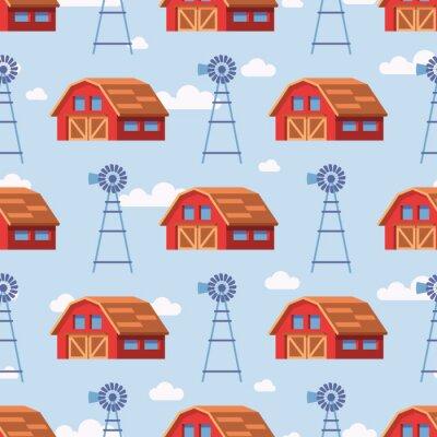Tapeta Czerwony dom wiejski wzór bez szwu