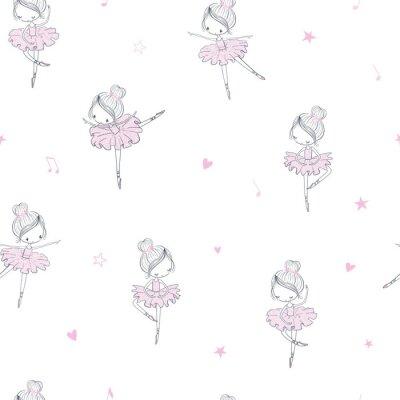 Tapeta Dancing ballerina childish seamless pattern