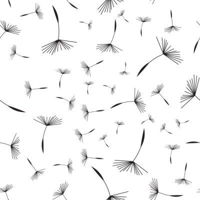 Tapeta Dandelion bez szwu deseń. Kwiatowy wzór dandelions. Bez szwu tła z dandelion pływających pod
