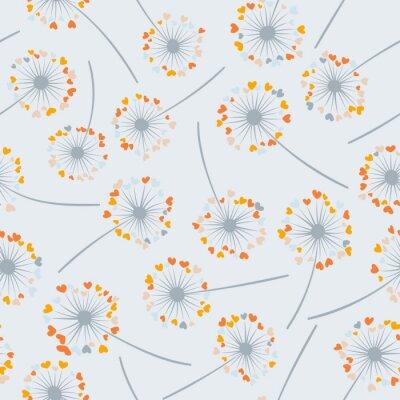 Tapeta Dandelion odizolowywający wektorowy bezszwowy valentine tła wzór. Ilustracja kwiat łąki w kształcie serca puch. Kwiecisty wzór z dandelion dmuchania kwiatem odizolowywającym. Blossom z symbolami miłoś