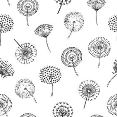 Tapeta Dandelion seamless pattern. Dandelions grass pollen plant seeds blowing tranquil wind fluff flower macro nature vector spring texture. Dandelion seamless pattern, flower softness illustration