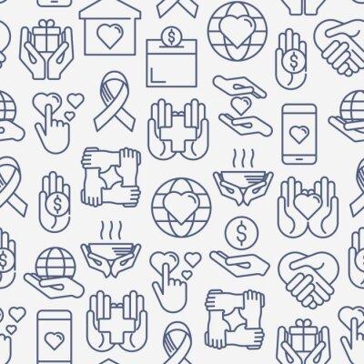 Tapeta Darowizna i darowizna bez szwu z ikonami cienkich linii związanych z organizacjami non-profit, fundraising, crowdfunding i projektem charytatywnym. Ilustracji wektorowych dla banerów, nośników wydruku