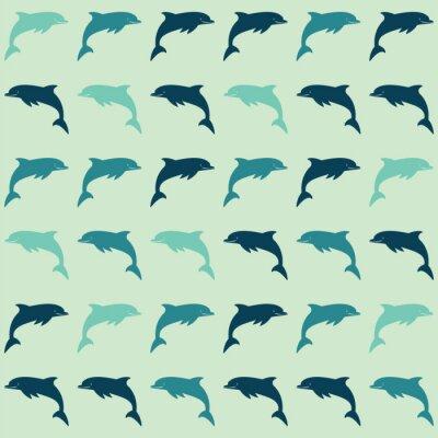 Tapeta Delfin tle sylwetka prawo i temu niebiesko