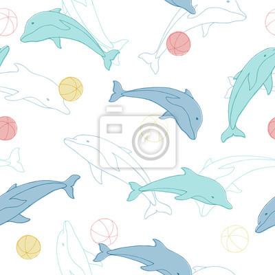 Tapeta Delfin zwierzęce kulkowe bezszwowe tło wzór ilustracji wektorowych
